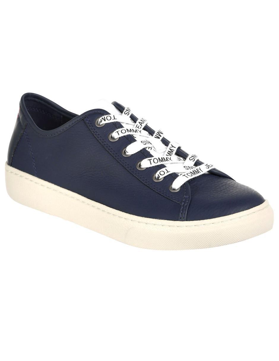 9b33e71fa54 Tenis Tommy Hilfiger piel azul marino